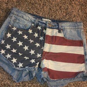Forever 21 flag denim shorts